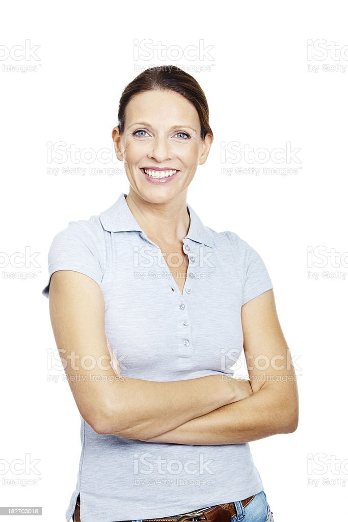 Portrait of a happy mature lady standing against white royalty-free stock photo
