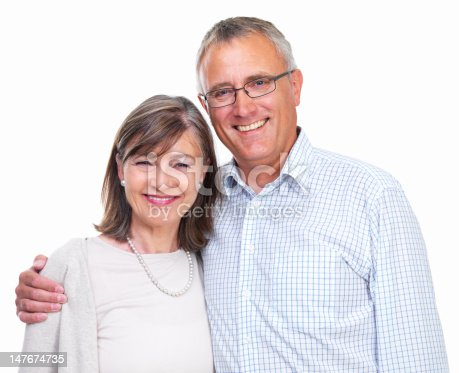 istock Portrait of a happy old couple 147674735