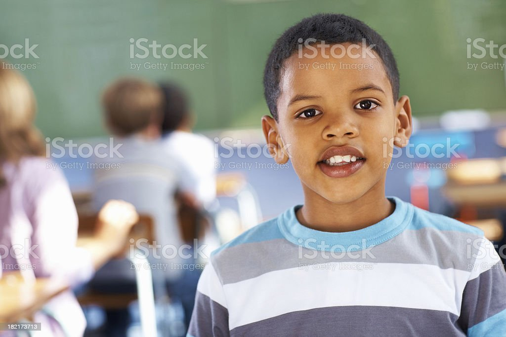 Portrait of a happy school boy in the classroom royalty-free stock photo