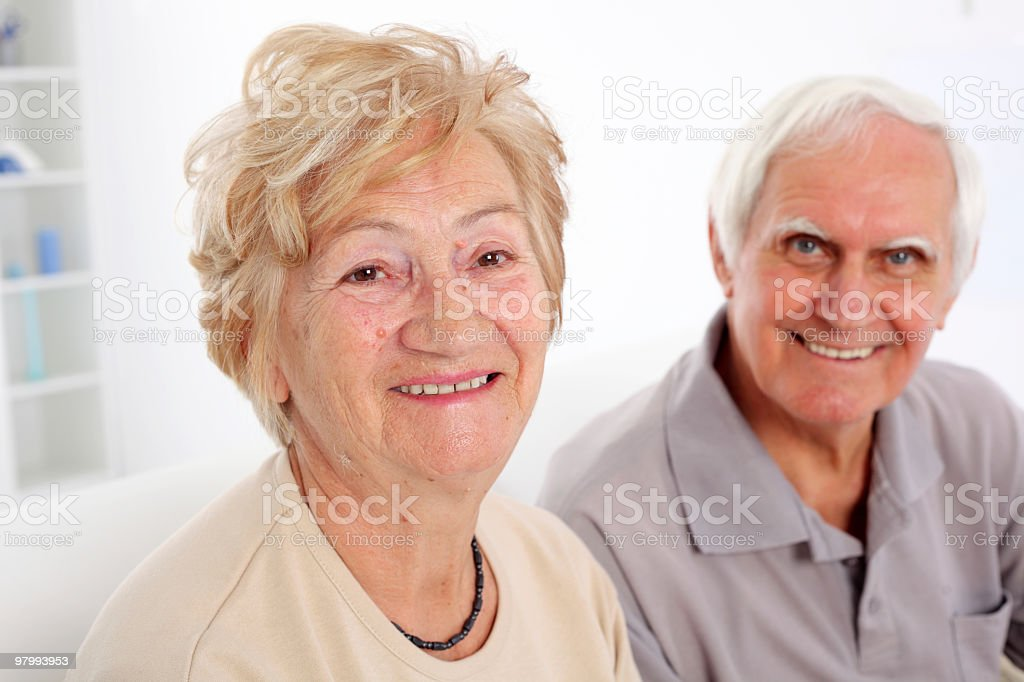 Portrait of a happy senior couple together. royalty free stockfoto