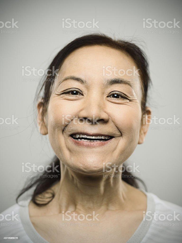Portrait of a happy senior japanese woman stock photo