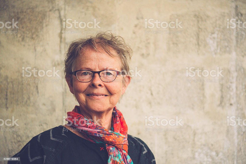 Portrait of a Happy Senior Woman, Paris, France stock photo