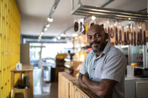 Portrait of a happy small business owner stock photo