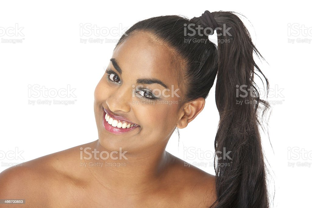 Portrait of a happy smiling young woman stock photo