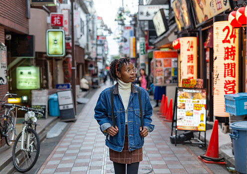 Portrait of a Happy Woman on the Streets of Tokyo