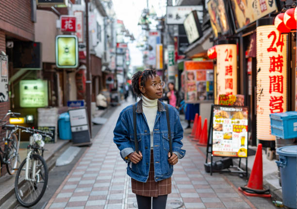 Portrait of a Happy Woman on the Streets of Tokyo stock photo