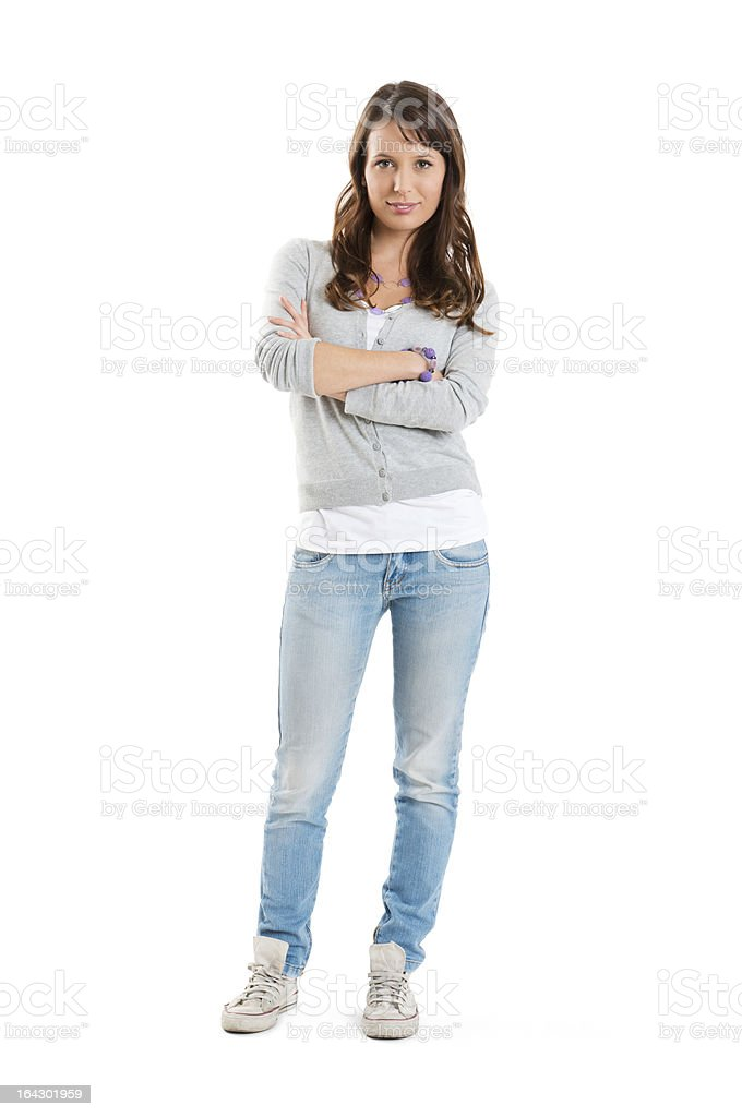 A portrait of a happy woman wearing a jeans stock photo