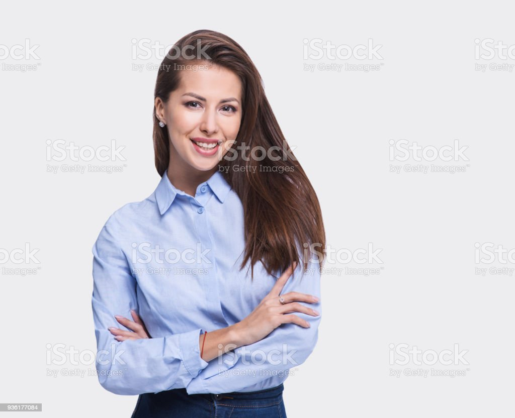 Portrait of a happy young business woman stock photo