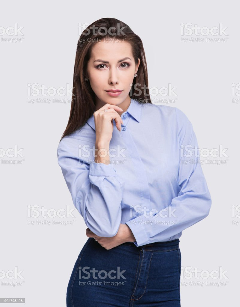 Portrait of a happy young businesswoman stock photo