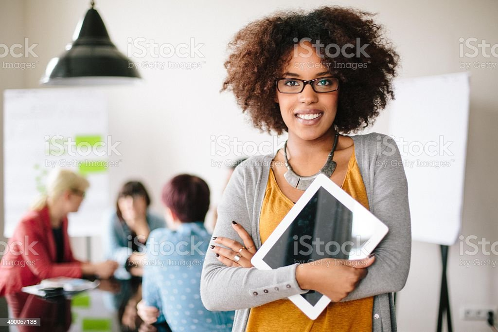 Portrait of a happy young entrepreneur stock photo