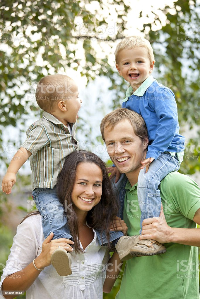 Portrait of a happy young family royalty-free stock photo