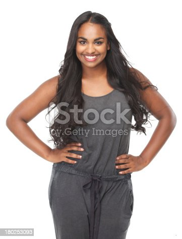 629077968istockphoto Portrait of a happy young woman smiling 180253093