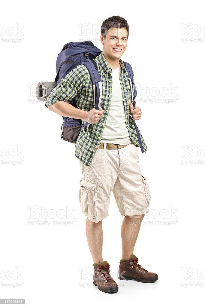 Porträt von einem Wanderer mit Rucksack – Foto