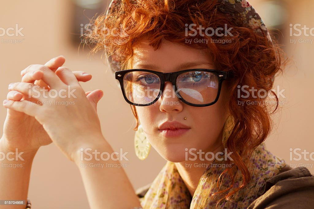 Portrait of a hipster girl stock photo