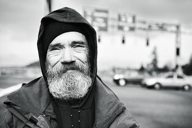Portrait of a Homeless Bearded Man stock photo