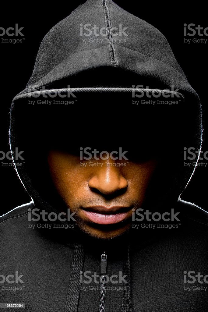 Portrait of a Hooded Man Representing Black Lives Matter stock photo