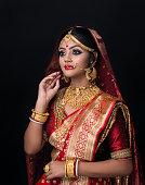 istock portrait of a Indian bride in studio light , Asian bride 1147912575