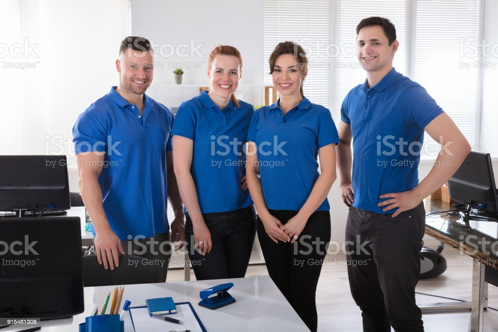 Portrait Of A Janitors In The Office stock photo