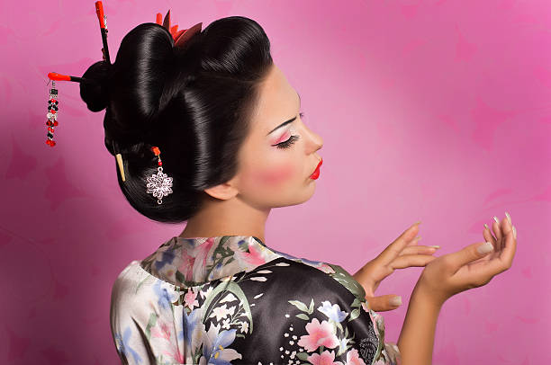 portrait of a japanese geisha woman - geisha girl stock photos and pictures