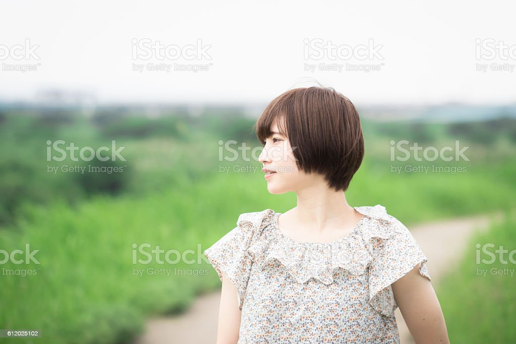 Portrait of a Japanese woman to walk in the countryside ストックフォト