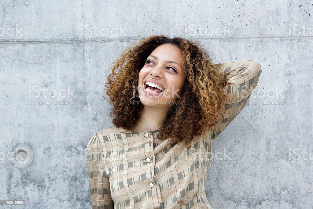 Portrait of a joyful young woman stock photo