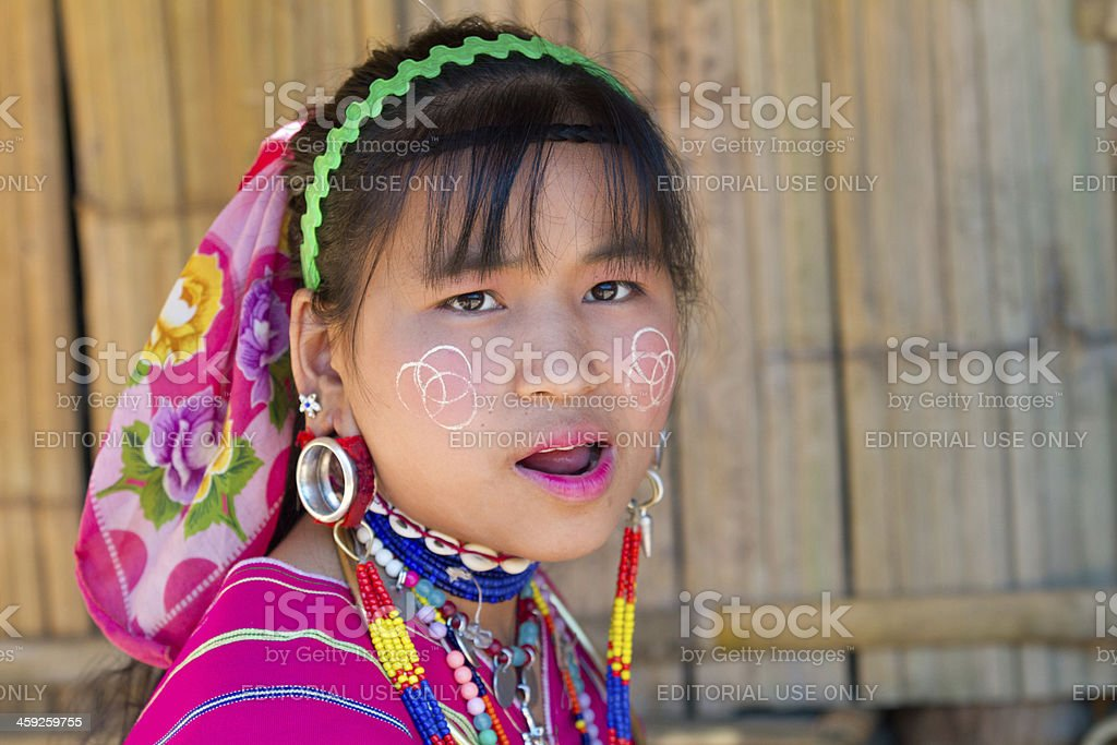 Portrait of a Karen girl in Chiang Mai royalty-free stock photo