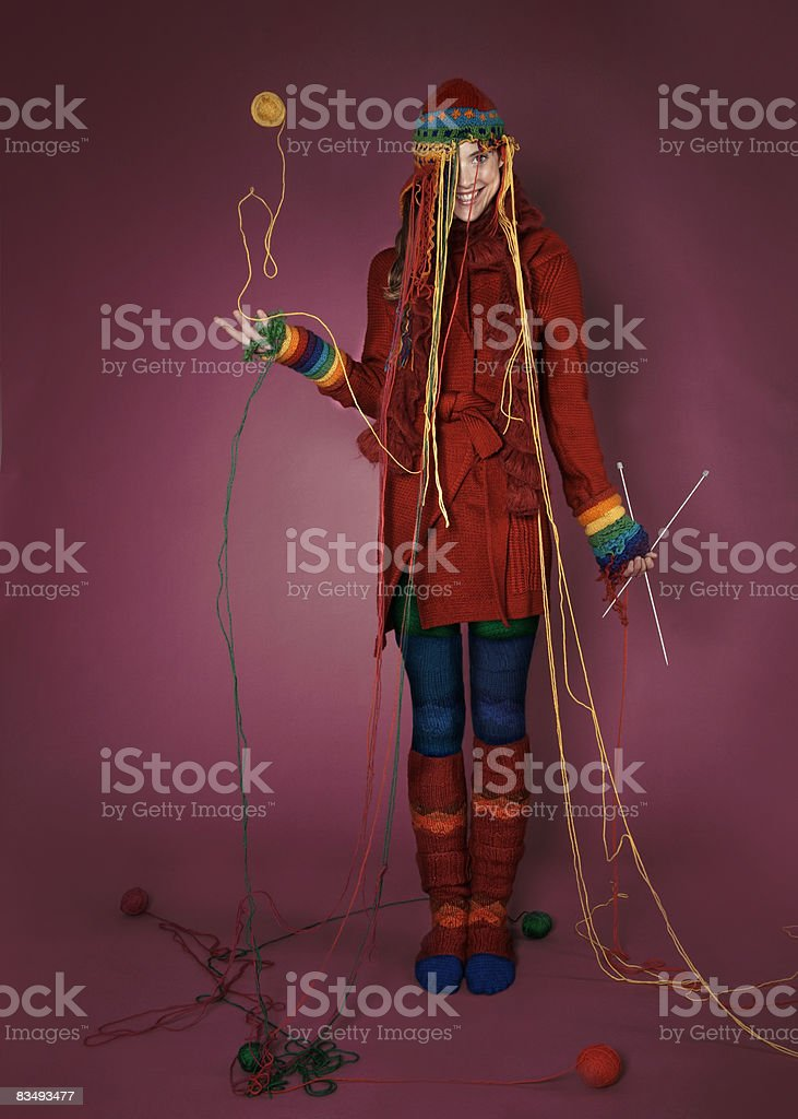 Portrait of a lady wearing her knitted garments royalty-free stock photo
