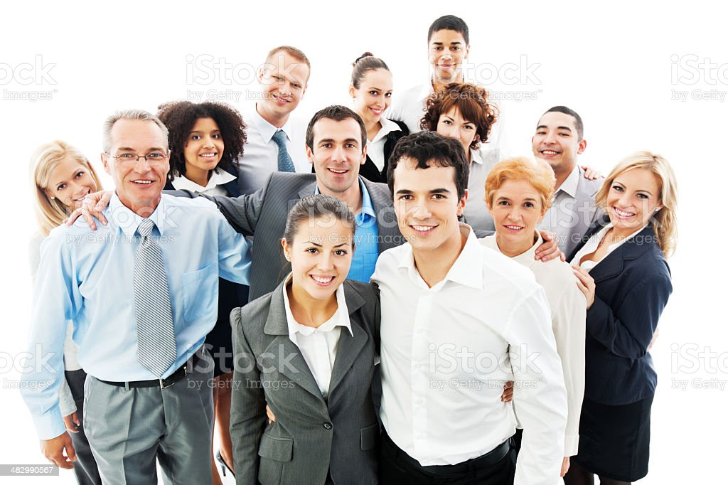 Portrait of a large group business people. stock photo