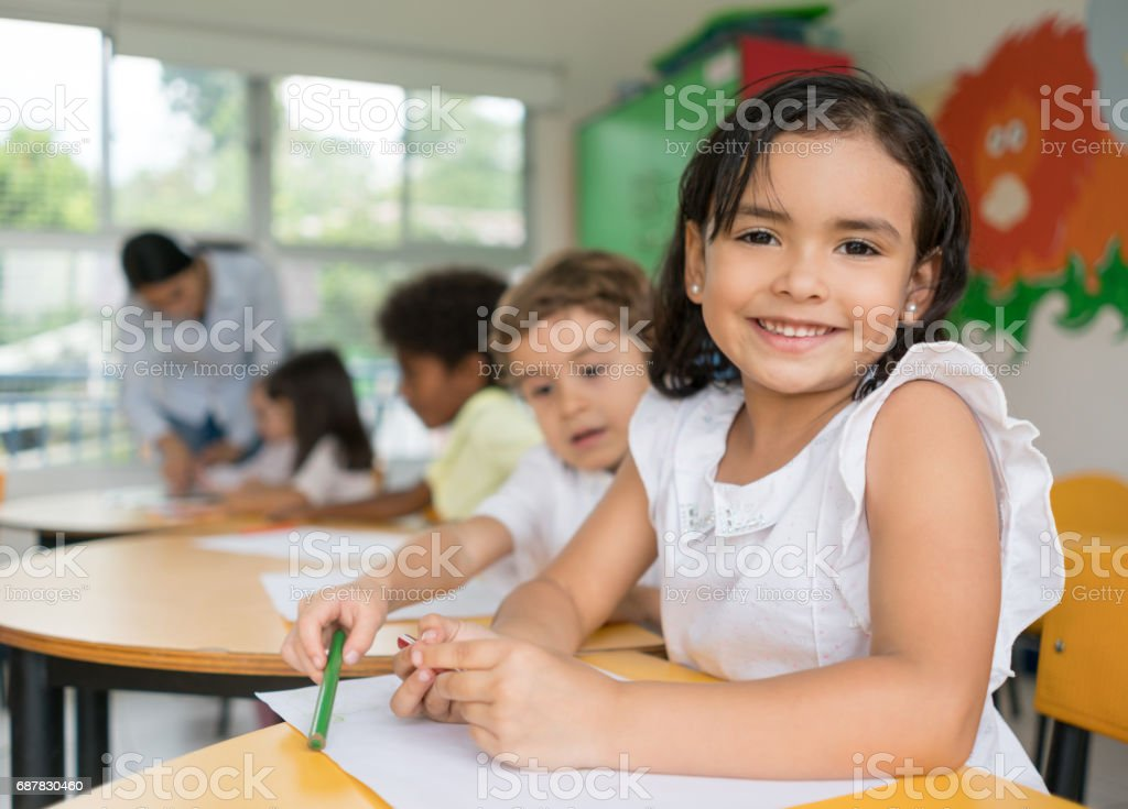 Portrait of a Latin American girl at the school stock photo
