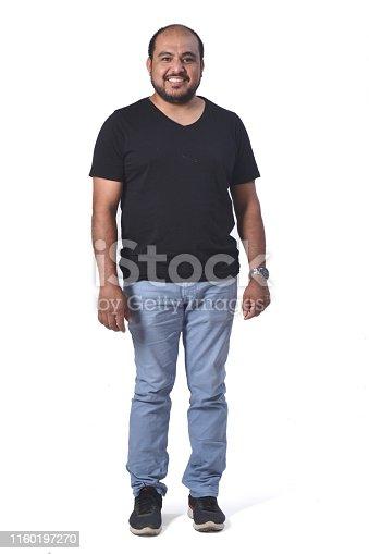 full portrait of a latin man on white