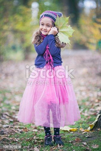 istock Portrait of a little girl in autumn park 1051825916