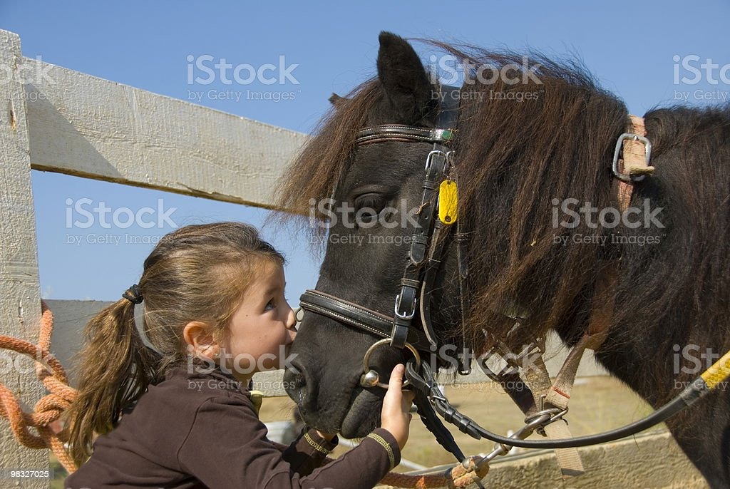 Portrait of a little girl kissing a black horse royalty-free stock photo