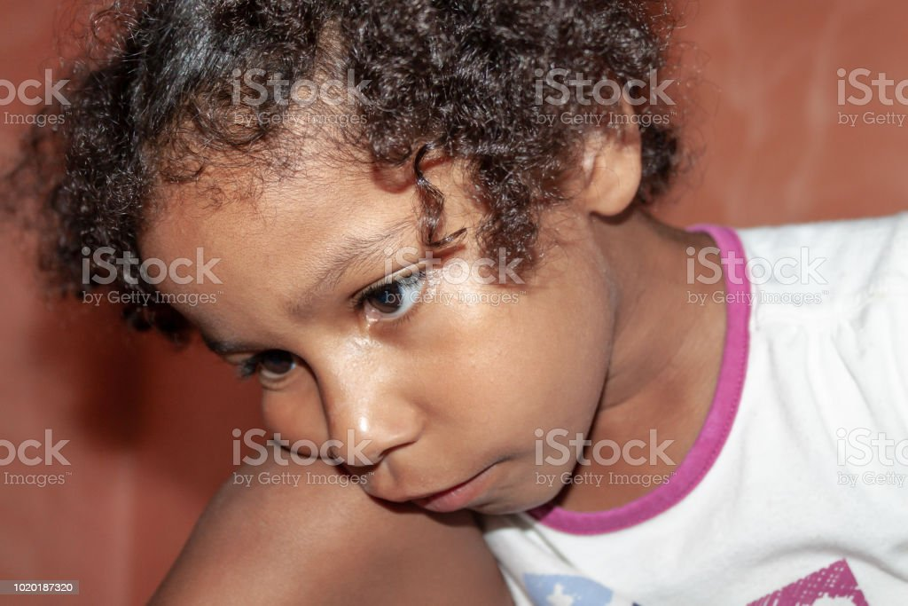 Portrait of a little girl of mixed ethnicity, indoors stock photo