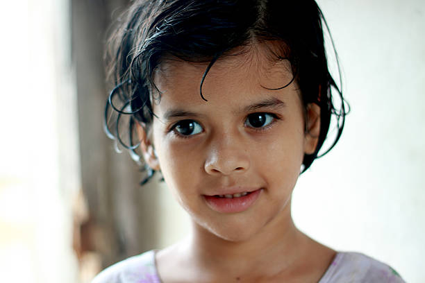 Portrait of a little Pathan girl. stock photo