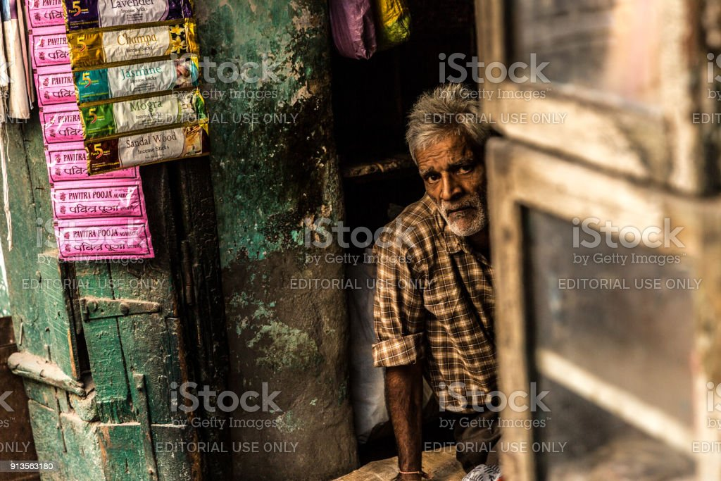 Portrait of a local man vendor in Jaipur, Rajasthan, India stock photo