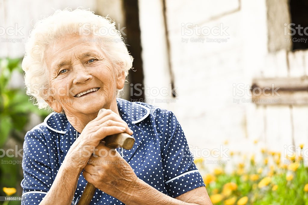 Portrait of a lovely grandma stock photo