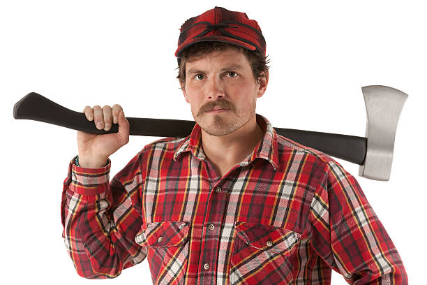Portrait of a lumberjack with an axe Portrait of a lumberjack with an axe lumberjack stock pictures, royalty-free photos & images