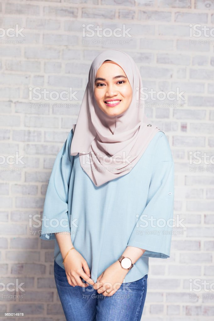 Portrait of a Malaysian Hijabi Girl stock photo