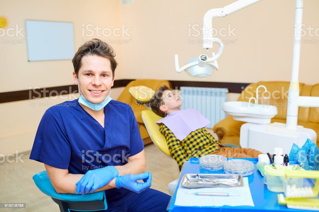 Portrait of a male dentist stock photo