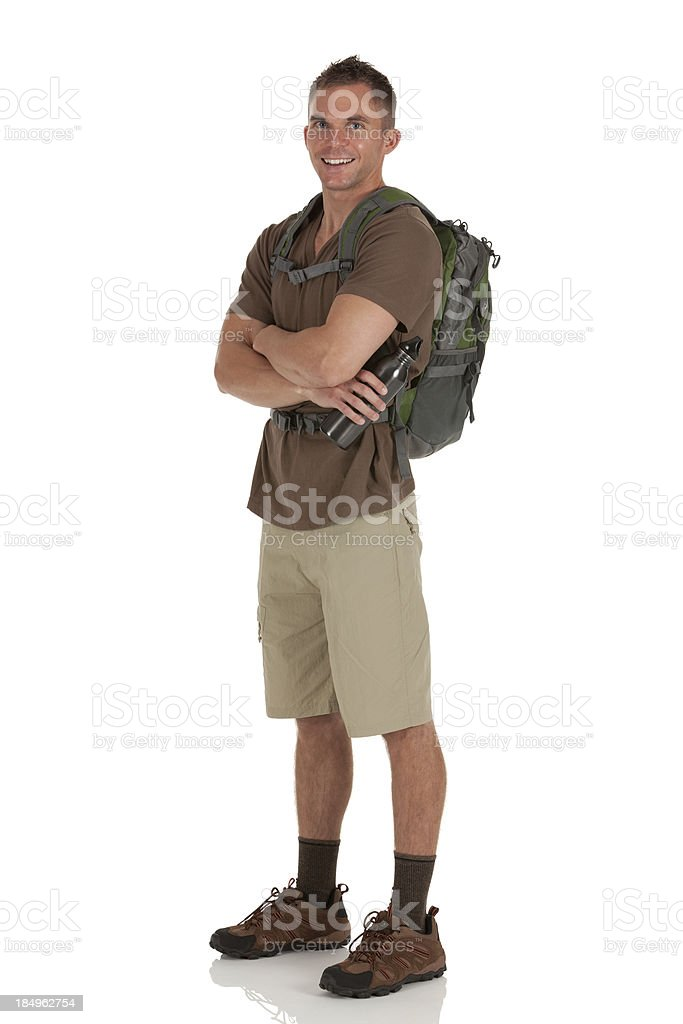 Portrait of a male hiker with his arms crossed stock photo