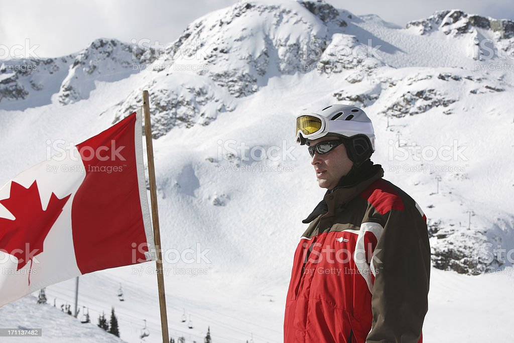 Portrait of a male skier stock photo