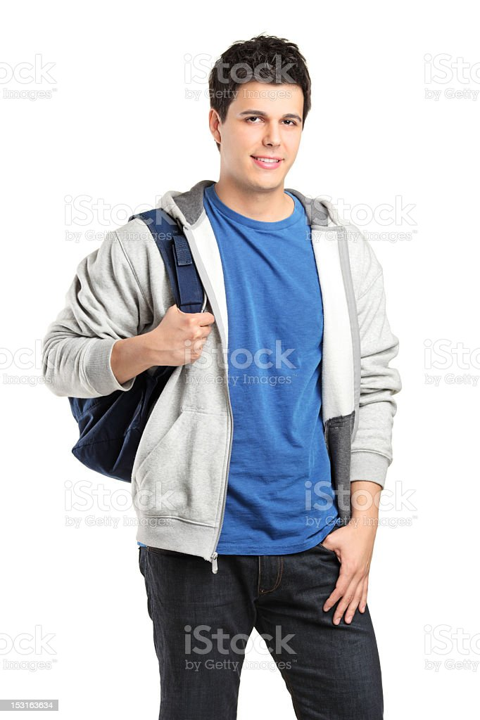 Portrait of a male student isolated on white background royalty-free stock photo