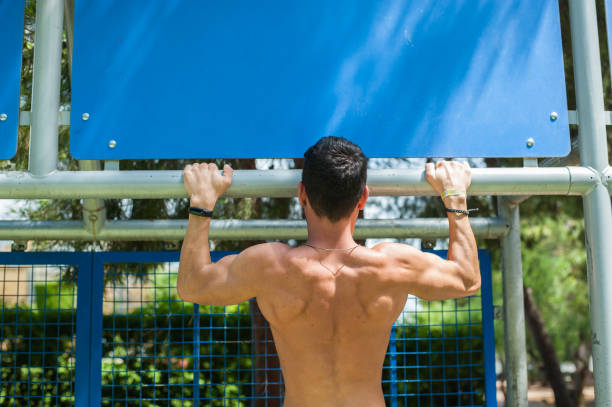 Portrait of a man exercising outdoors stock photo