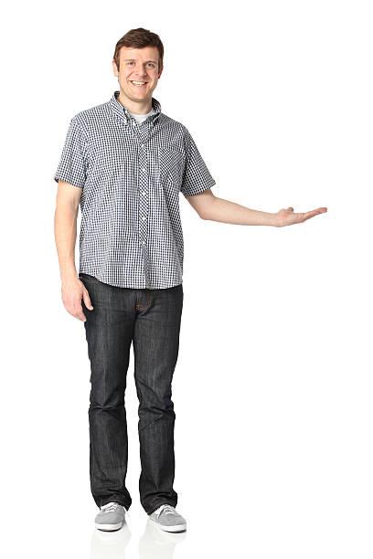 portrait of a man gesturing - korte mouwen stockfoto's en -beelden