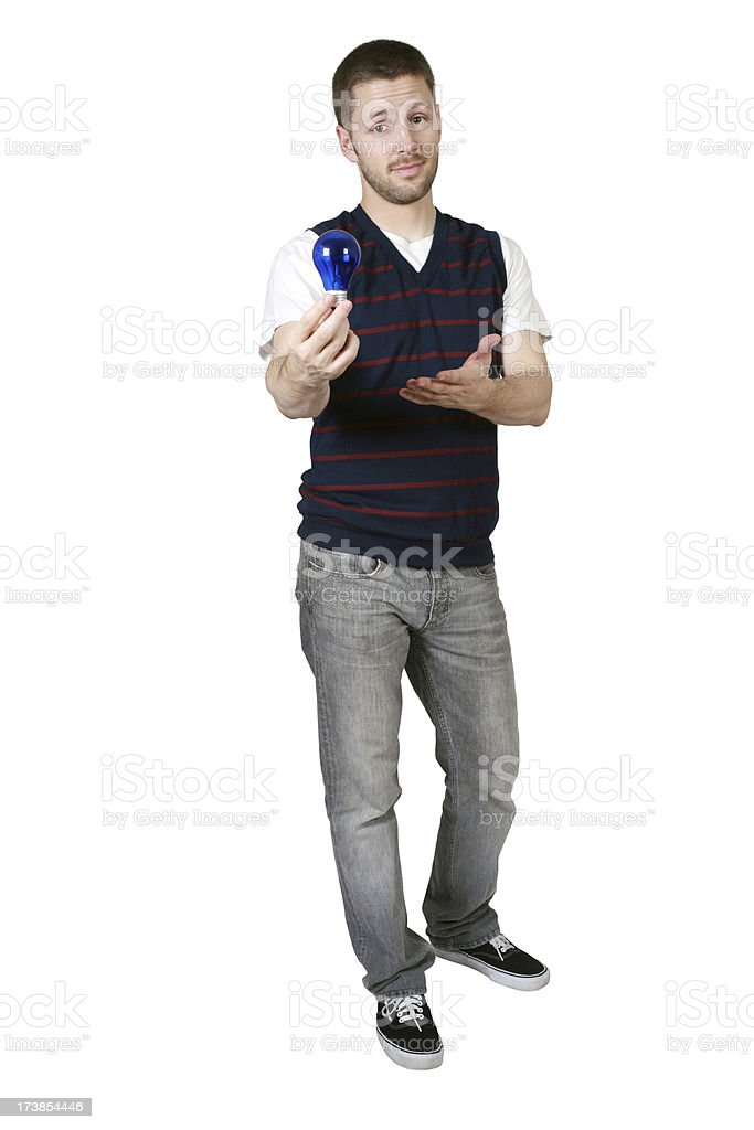 Portrait of a man holding light bulb royalty-free stock photo