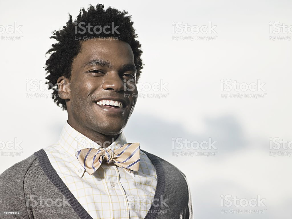 Portrait of a man in a bowtie stock photo