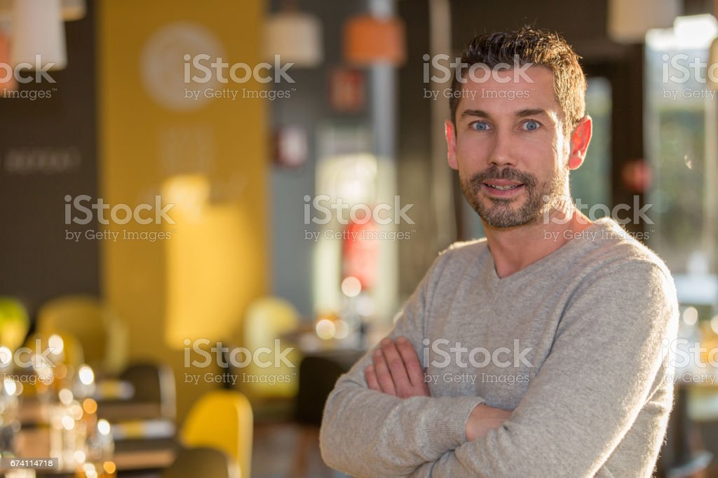 Portrait of a man in a restaurant royalty-free stock photo