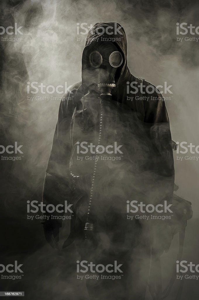 Portrait of a man in gas mask stock photo
