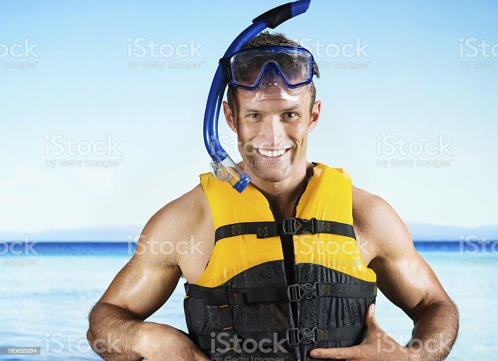 Portrait of a man in scuba gear royalty-free stock photo
