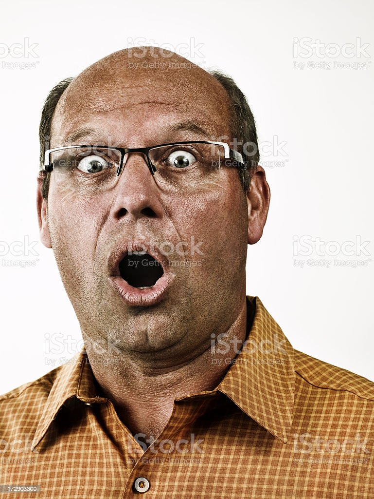 Portrait of a man looking surprised stock photo